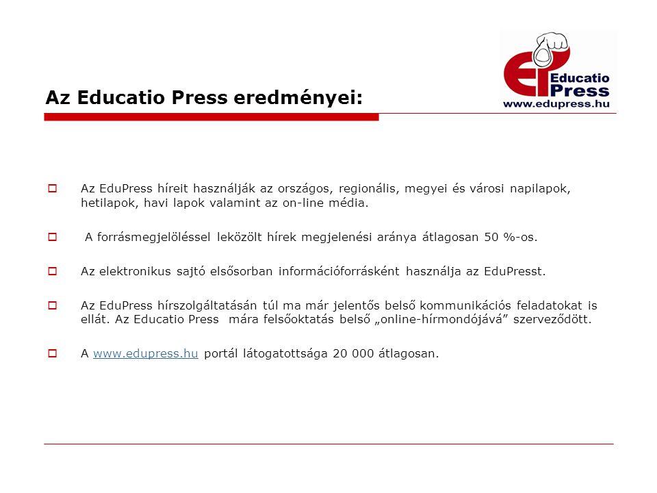 Az Educatio Press eredményei:  Az EduPress híreit használják az országos, regionális, megyei és városi napilapok, hetilapok, havi lapok valamint az o