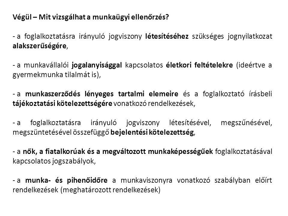 Végül – Mit vizsgálhat a munkaügyi ellenőrzés? - a foglalkoztatásra irányuló jogviszony létesítéséhez szükséges jognyilatkozat alakszerűségére, - a mu