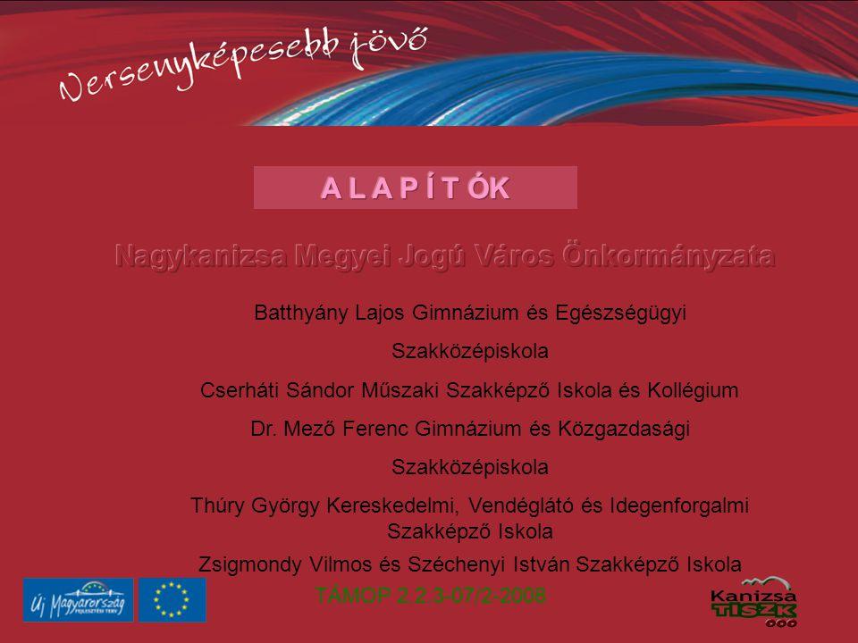 TÁMOP 2.2.3-07/2-2008 Batthyány Lajos Gimnázium és Egészségügyi Szakközépiskola Cserháti Sándor Műszaki Szakképző Iskola és Kollégium Dr.