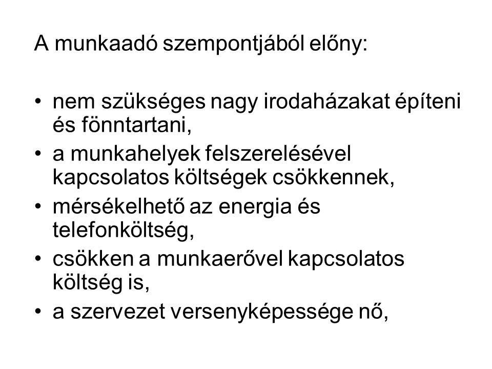 A távmunka helyzete Magyarországon •Magyarországon 2006-ban minden 9-10.