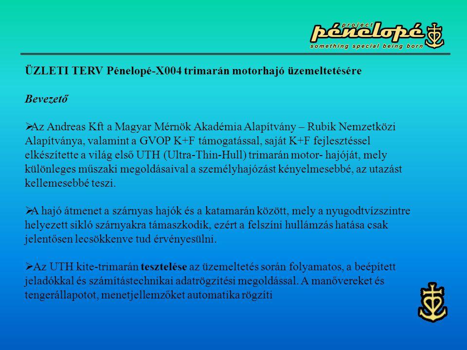 ÜZLETI TERV Pénelopé-X004 trimarán motorhajó üzemeltetésére Bevezető  Az Andreas Kft a Magyar Mérnök Akadémia Alapítvány – Rubik Nemzetközi Alapítván