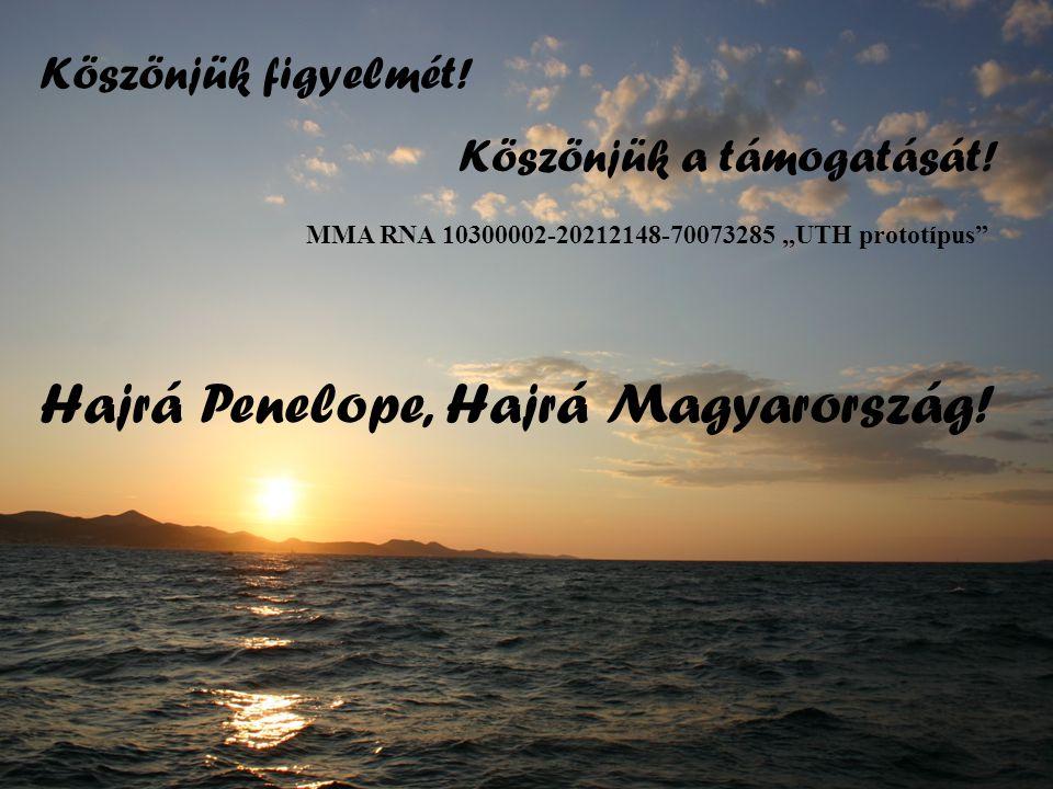 """Köszönjük figyelmét! Hajrá Penelope, Hajrá Magyarország! Köszönjük a támogatását! MMA RNA 10300002-20212148-70073285 """"UTH prototípus"""""""