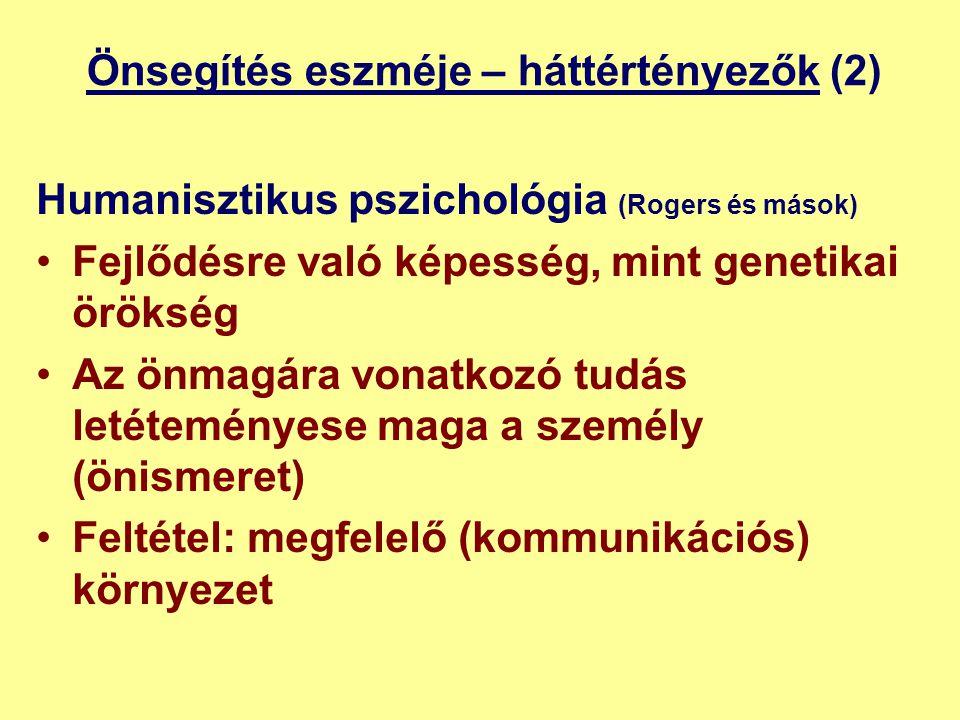 Önsegítés eszméje – háttértényezők (2) Humanisztikus pszichológia (Rogers és mások) •Fejlődésre való képesség, mint genetikai örökség •Az önmagára vonatkozó tudás letéteményese maga a személy (önismeret) •Feltétel: megfelelő (kommunikációs) környezet
