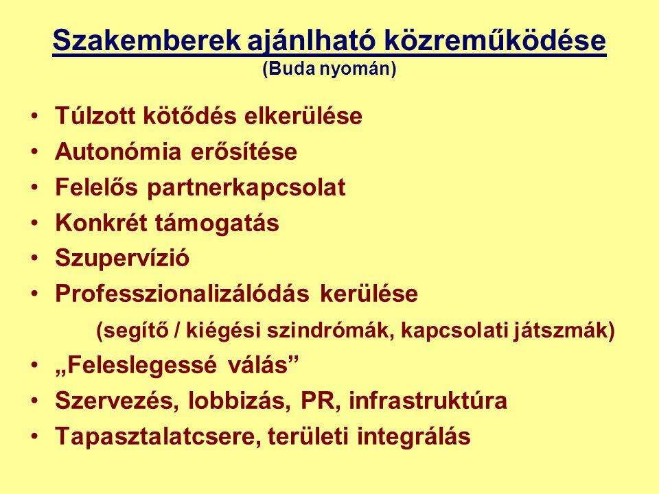 """Szakemberek ajánlható közreműködése (Buda nyomán) •Túlzott kötődés elkerülése •Autonómia erősítése •Felelős partnerkapcsolat •Konkrét támogatás •Szupervízió •Professzionalizálódás kerülése (segítő / kiégési szindrómák, kapcsolati játszmák) •""""Feleslegessé válás •Szervezés, lobbizás, PR, infrastruktúra •Tapasztalatcsere, területi integrálás"""