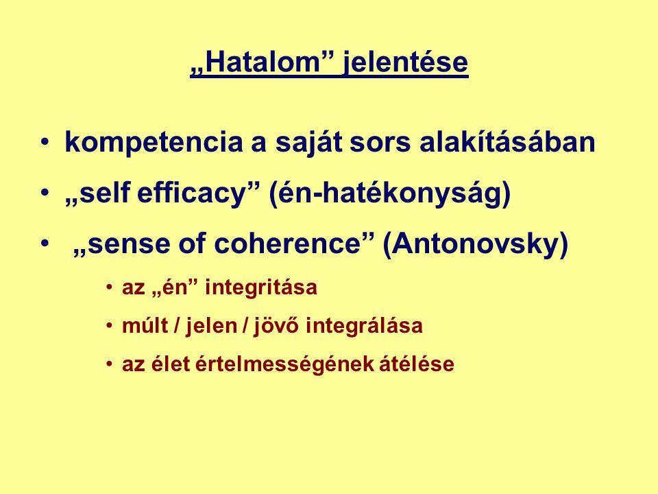 """""""Hatalom jelentése •kompetencia a saját sors alakításában •""""self efficacy (én-hatékonyság) • """"sense of coherence (Antonovsky) •az """"én integritása •múlt / jelen / jövő integrálása •az élet értelmességének átélése"""