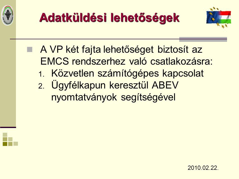 Adatküldési lehetőségek  A VP két fajta lehetőséget biztosít az EMCS rendszerhez való csatlakozásra: 1. Közvetlen számítógépes kapcsolat 2. Ügyfélkap