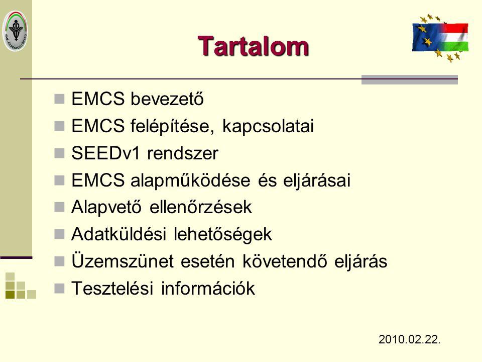 Tartalom  EMCS bevezető  EMCS felépítése, kapcsolatai  SEEDv1 rendszer  EMCS alapműködése és eljárásai  Alapvető ellenőrzések  Adatküldési lehet