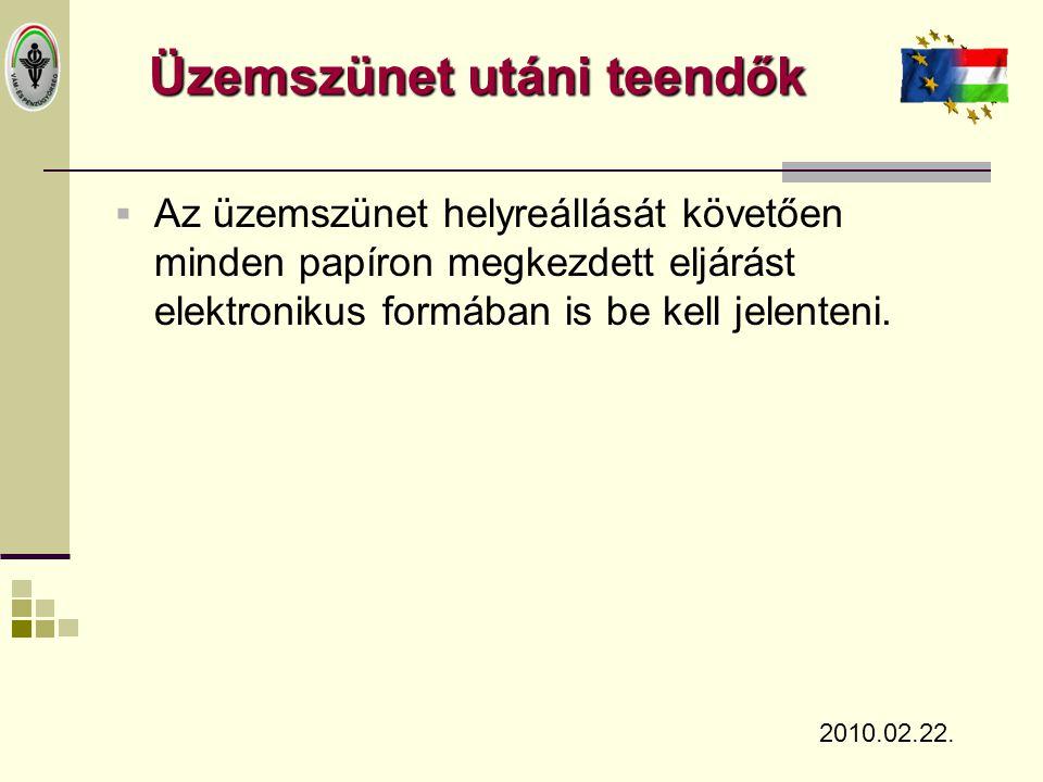 Üzemszünet utáni teendők  Az üzemszünet helyreállását követően minden papíron megkezdett eljárást elektronikus formában is be kell jelenteni. 2010.02