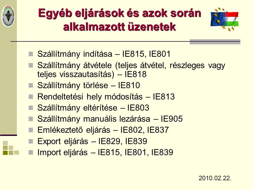  Szállítmány indítása – IE815, IE801  Szállítmány átvétele (teljes átvétel, részleges vagy teljes visszautasítás) – IE818  Szállítmány törlése – IE