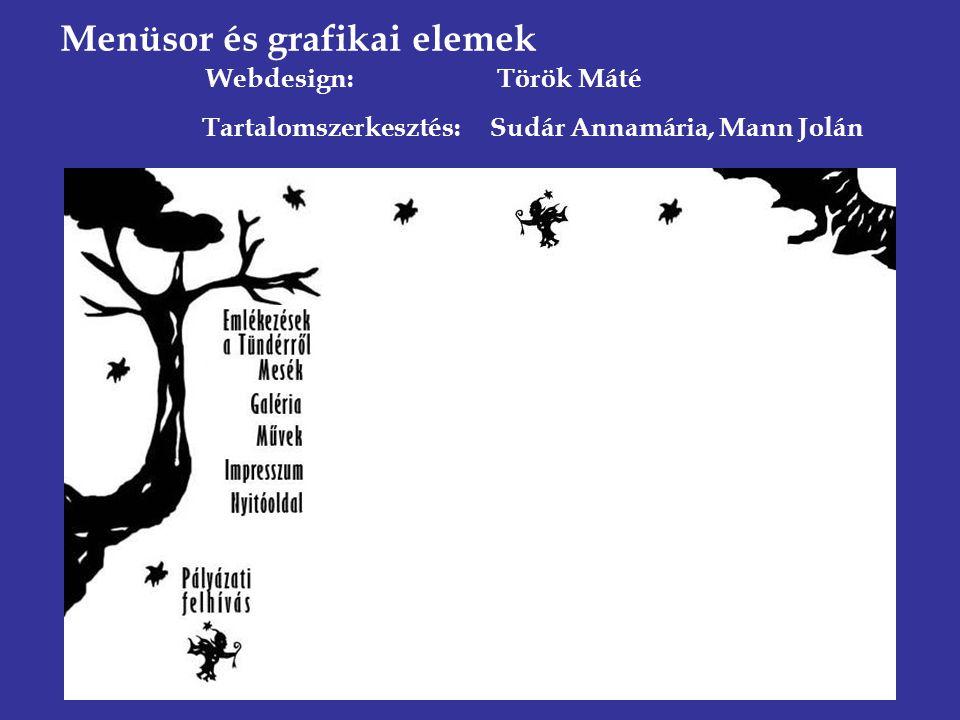Menüsor és grafikai elemek Webdesign: Török Máté Tartalomszerkesztés: Sudár Annamária, Mann Jolán