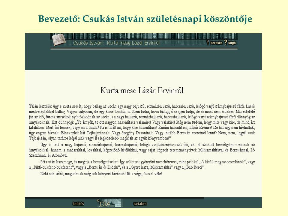 Bevezető: Csukás István születésnapi köszöntője