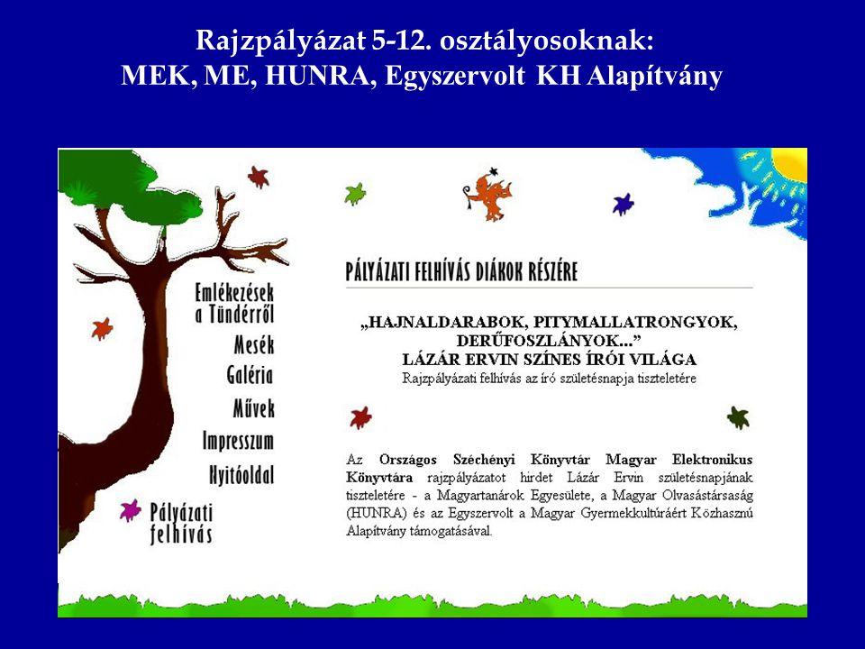 Rajzpályázat 5-12. osztályosoknak: MEK, ME, HUNRA, Egyszervolt KH Alapítvány