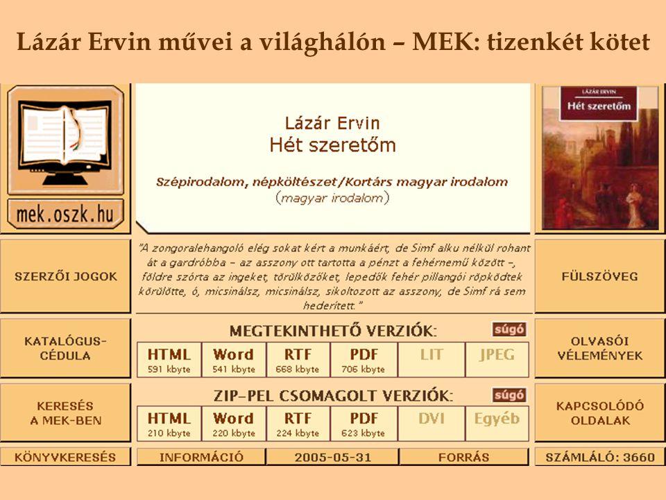 Lázár Ervin művei a világhálón – Digitális Irodalmi Akadémia tizenegy kötet