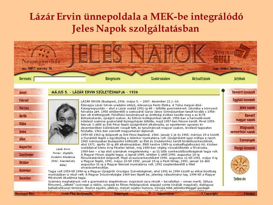 Lázár Ervin ünnepoldala a MEK-be integrálódó Jeles Napok szolgáltatásban