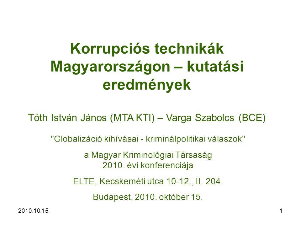 2010.10.15.12 – Szabályozási kudarcok (nem adekvát szabályozás) – A korrupciós kockázatokat növelő szabályozási megoldások – Lebukási valószínűség alacsony szintje – Kis büntetési tételek – Kontextuális hatások [másik szereplők várható viselkedése, a korrupció megítélése] Tartalom – Források – Fogalmak – Okok – Mechanizmusok – Kutatási eredmények – Hogyan tovább.