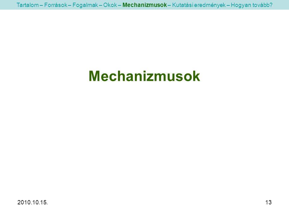 2010.10.15.13 Mechanizmusok Tartalom – Források – Fogalmak – Okok – Mechanizmusok – Kutatási eredmények – Hogyan tovább?