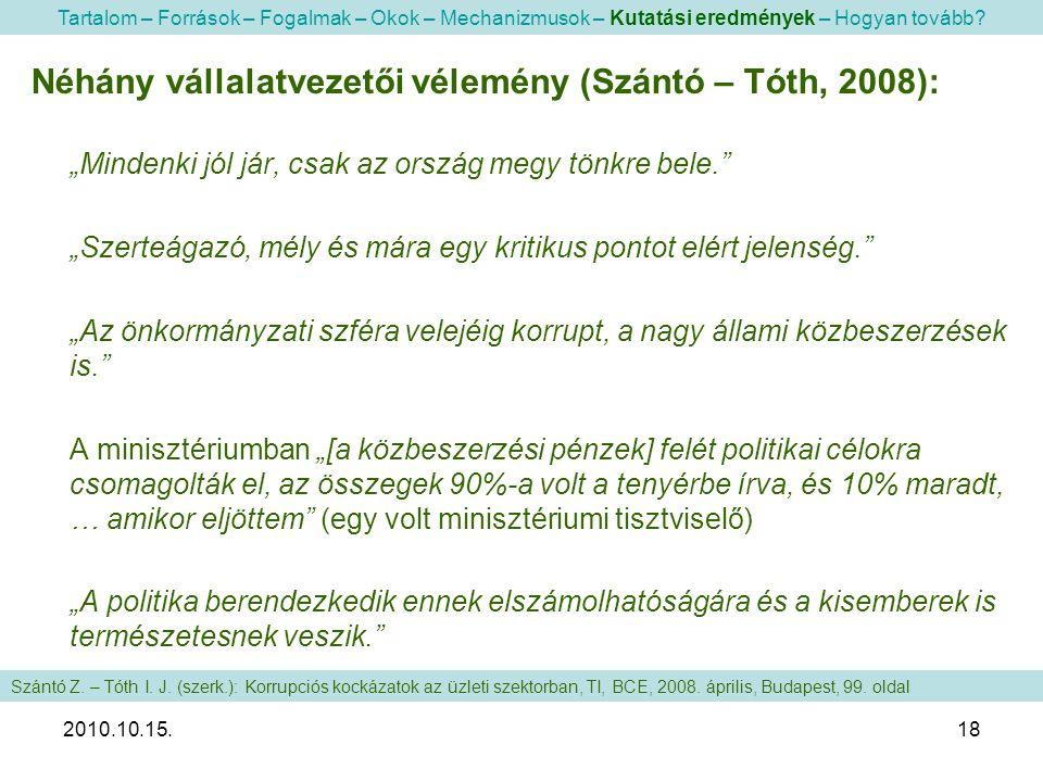 """2010.10.15.18 Néhány vállalatvezetői vélemény (Szántó – Tóth, 2008): """"Mindenki jól jár, csak az ország megy tönkre bele."""" """"Szerteágazó, mély és mára e"""