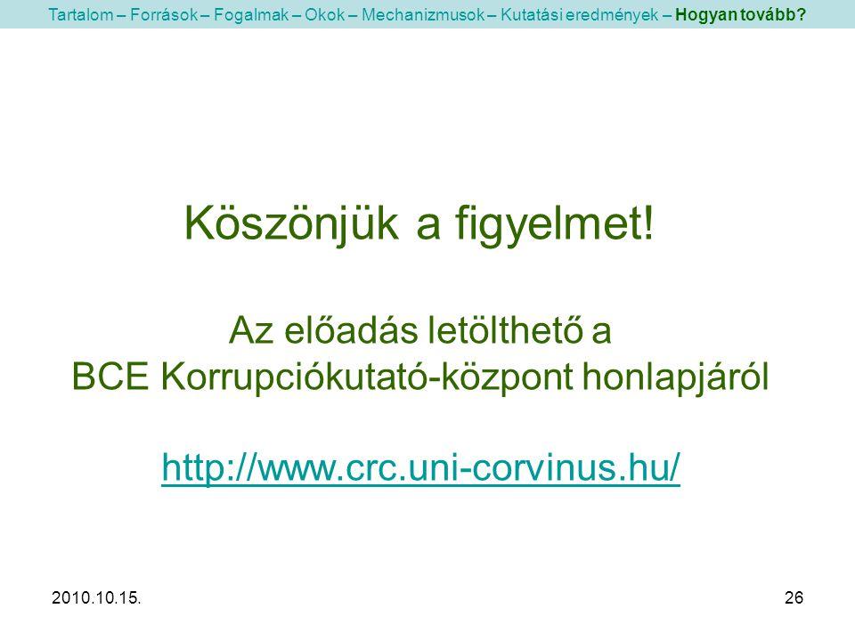 2010.10.15.26 Köszönjük a figyelmet! Az előadás letölthető a BCE Korrupciókutató-központ honlapjáról http://www.crc.uni-corvinus.hu/ http://www.crc.un