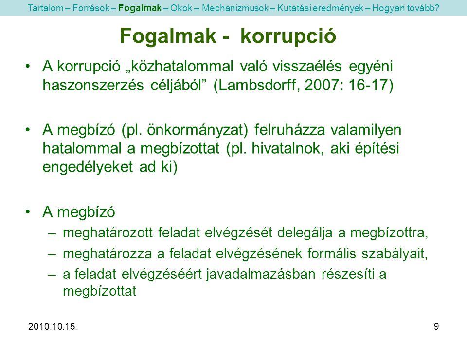 """2010.10.15.9 •A korrupció """"közhatalommal való visszaélés egyéni haszonszerzés céljából"""" (Lambsdorff, 2007: 16-17) •A megbízó (pl. önkormányzat) felruh"""