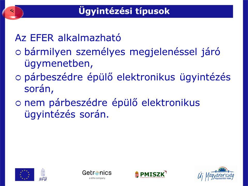 Ügyintézési típusok 13 Az EFER alkalmazható  bármilyen személyes megjelenéssel járó ügymenetben,  párbeszédre épülő elektronikus ügyintézés során, 