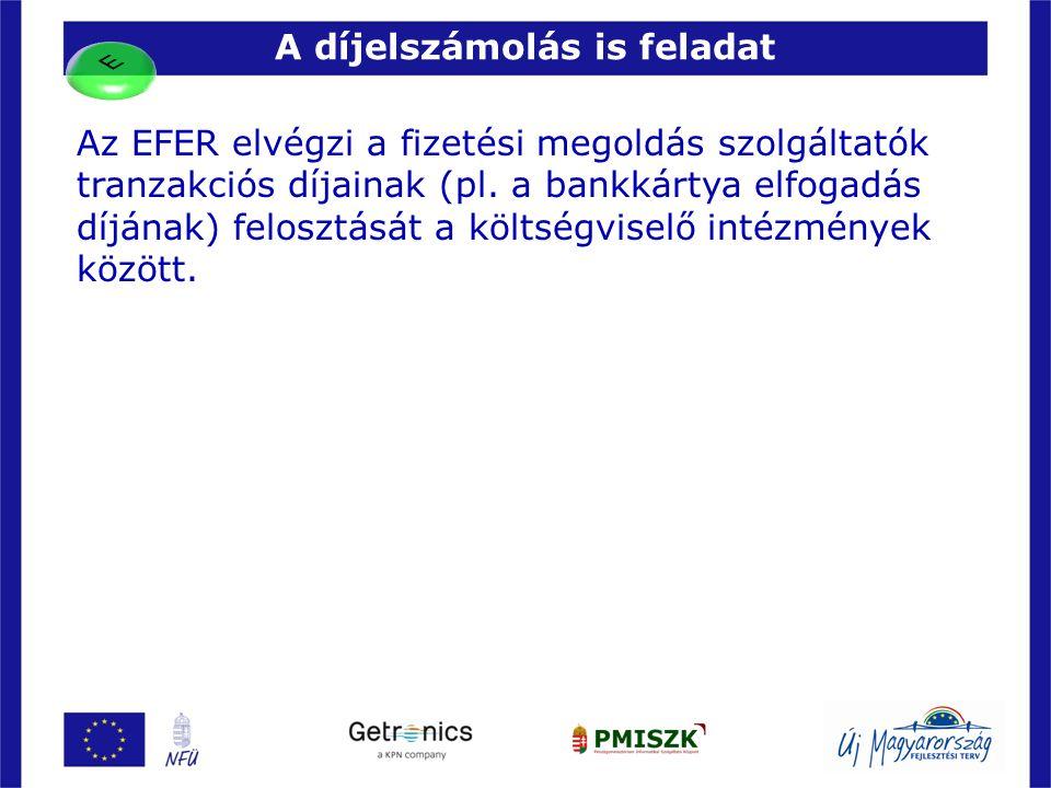 A díjelszámolás is feladat 17 Az EFER elvégzi a fizetési megoldás szolgáltatók tranzakciós díjainak (pl. a bankkártya elfogadás díjának) felosztását a
