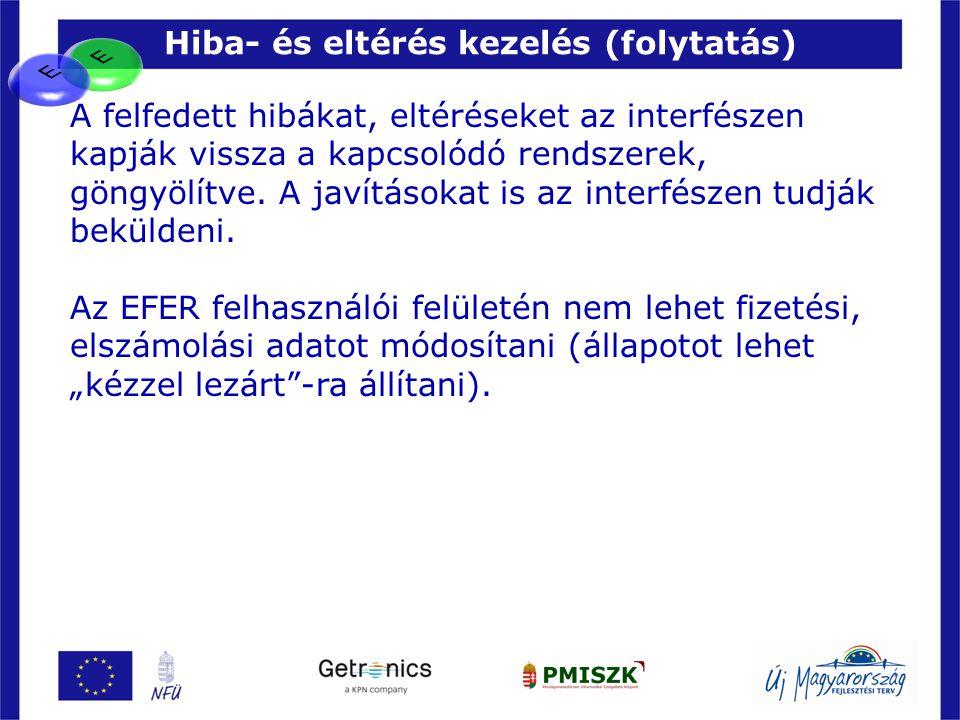 Hiba- és eltérés kezelés (folytatás) 19 A felfedett hibákat, eltéréseket az interfészen kapják vissza a kapcsolódó rendszerek, göngyölítve. A javításo
