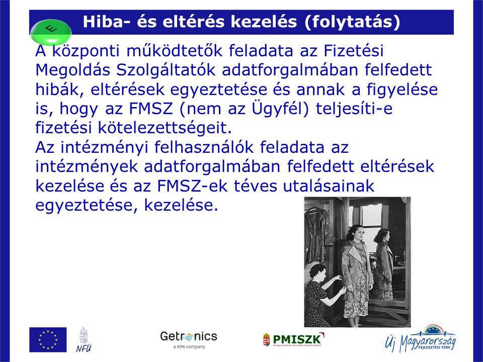 Hiba- és eltérés kezelés (folytatás) 20 A központi működtetők feladata az Fizetési Megoldás Szolgáltatók adatforgalmában felfedett hibák, eltérések eg