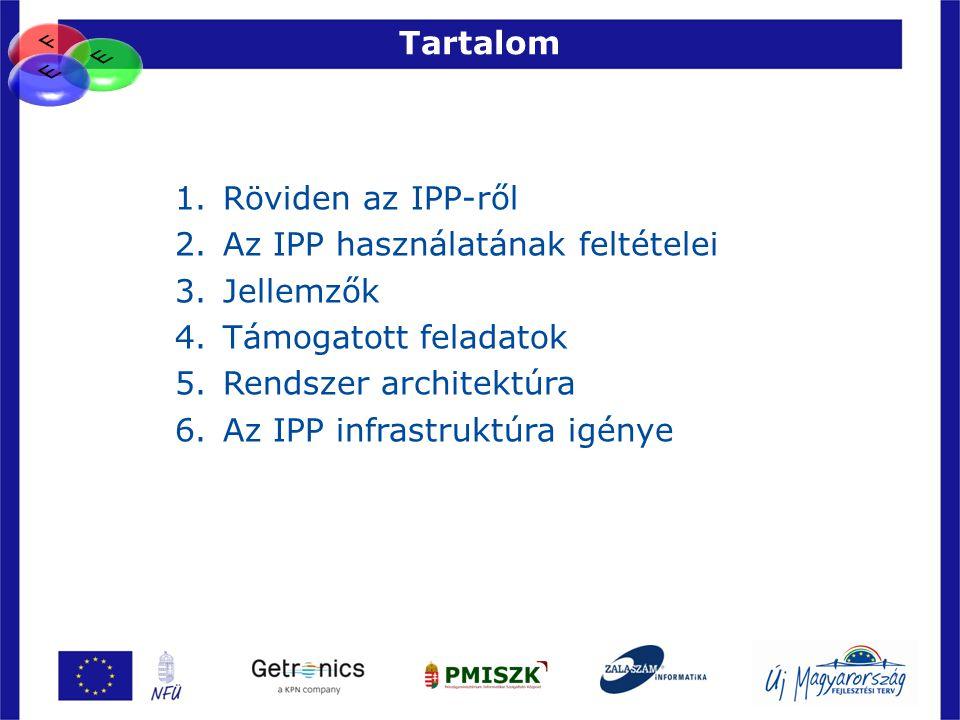 Tartalom 27 1.Röviden az IPP-ről 2.Az IPP használatának feltételei 3.Jellemzők 4.Támogatott feladatok 5.Rendszer architektúra 6.Az IPP infrastruktúra