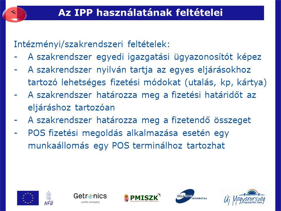 Az IPP használatának feltételei 30 Intézményi/szakrendszeri feltételek: -A szakrendszer egyedi igazgatási ügyazonosítót képez -A szakrendszer nyilván