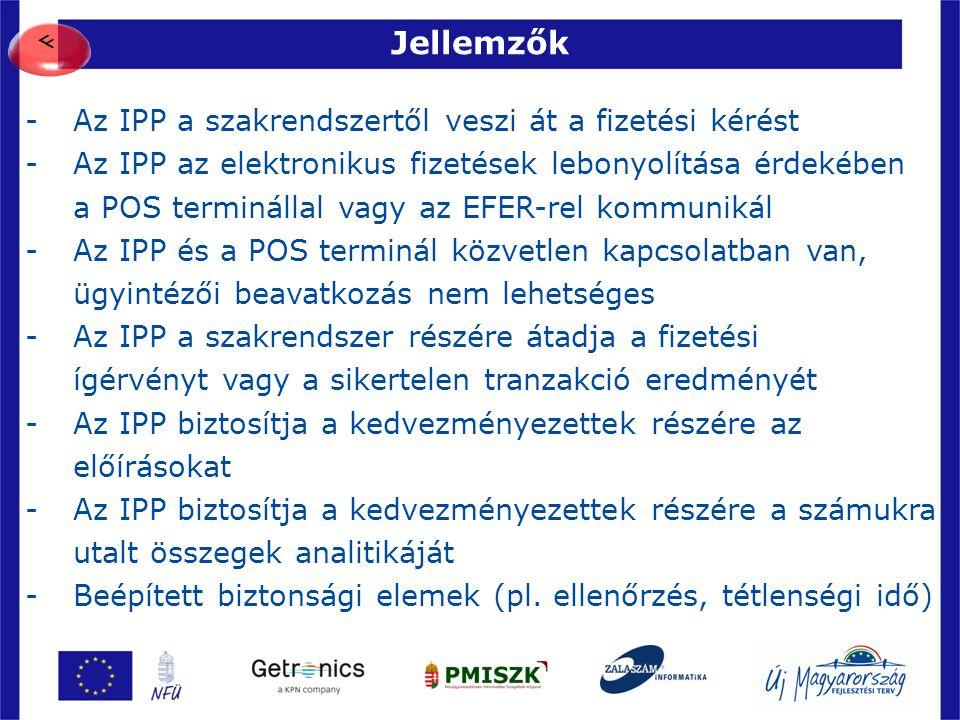 Jellemzők 32 -Az IPP a szakrendszertől veszi át a fizetési kérést -Az IPP az elektronikus fizetések lebonyolítása érdekében a POS terminállal vagy az