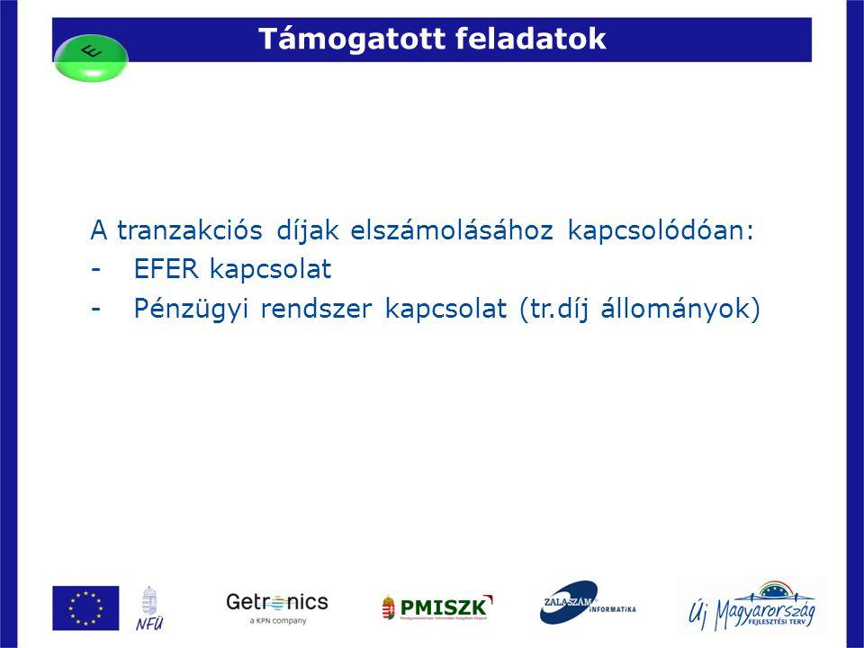 Támogatott feladatok 34 A tranzakciós díjak elszámolásához kapcsolódóan: -EFER kapcsolat -Pénzügyi rendszer kapcsolat (tr.díj állományok)