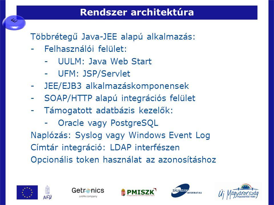 Rendszer architektúra 36 Többrétegű Java-JEE alapú alkalmazás: -Felhasználói felület: -UULM: Java Web Start -UFM: JSP/Servlet -JEE/EJB3 alkalmazáskomp