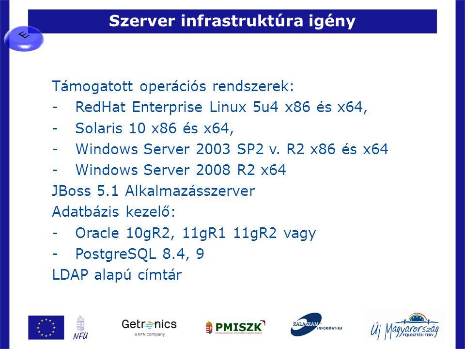 Szerver infrastruktúra igény 37 Támogatott operációs rendszerek: -RedHat Enterprise Linux 5u4 x86 és x64, -Solaris 10 x86 és x64, -Windows Server 2003