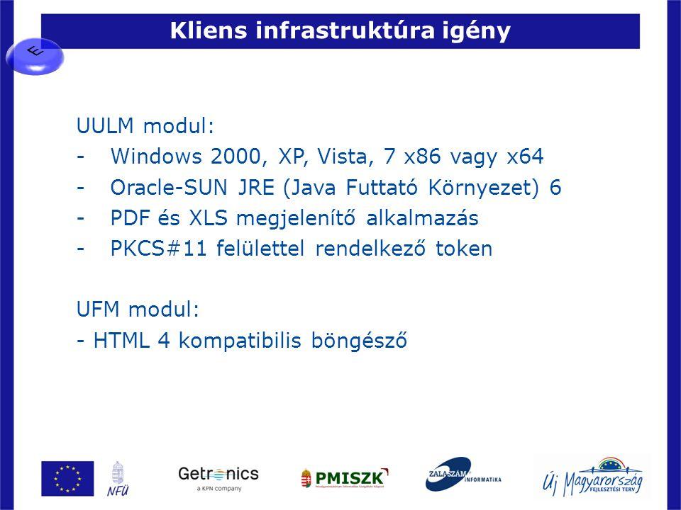 Kliens infrastruktúra igény 38 UULM modul: -Windows 2000, XP, Vista, 7 x86 vagy x64 -Oracle-SUN JRE (Java Futtató Környezet) 6 -PDF és XLS megjelenítő