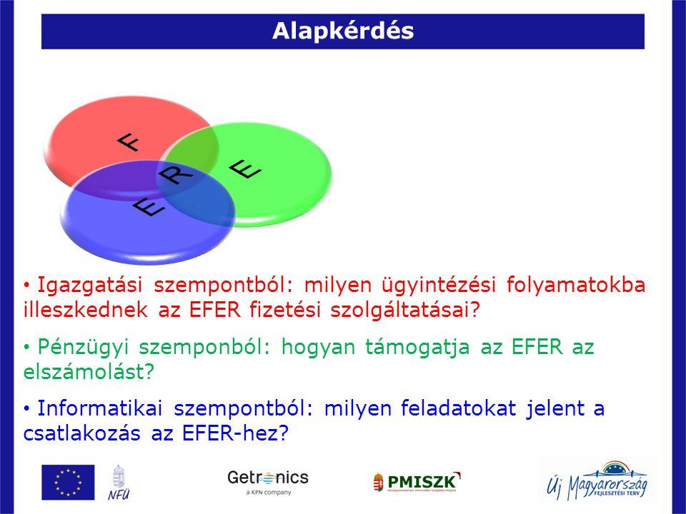 Alapkérdés 4 • Igazgatási szempontból: milyen ügyintézési folyamatokba illeszkednek az EFER fizetési szolgáltatásai? • Pénzügyi szemponból: hogyan tám