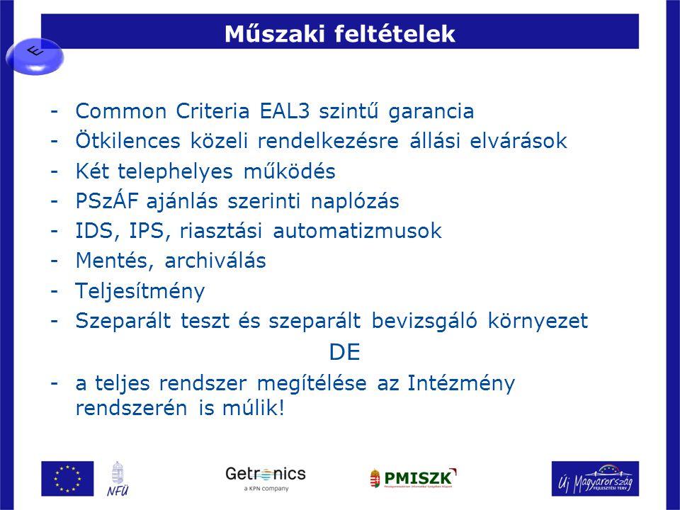 Műszaki feltételek -Common Criteria EAL3 szintű garancia -Ötkilences közeli rendelkezésre állási elvárások -Két telephelyes működés -PSzÁF ajánlás sze