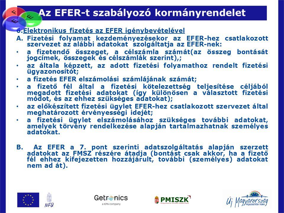 Az EFER-t szabályozó kormányrendelet 57 6.Elektronikus fizetés az EFER igénybevételével A.Fizetési folyamat kezdeményezésekor az EFER-hez csatlakozott