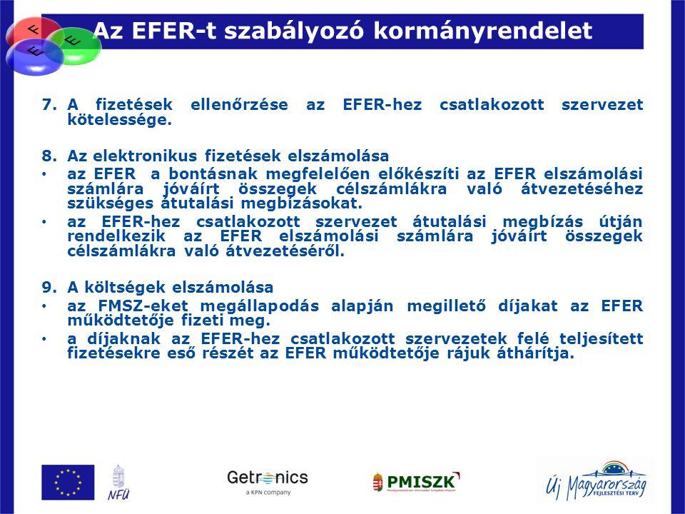 Az EFER-t szabályozó kormányrendelet 59 7.A fizetések ellenőrzése az EFER-hez csatlakozott szervezet kötelessége. 8. Az elektronikus fizetések elszámo