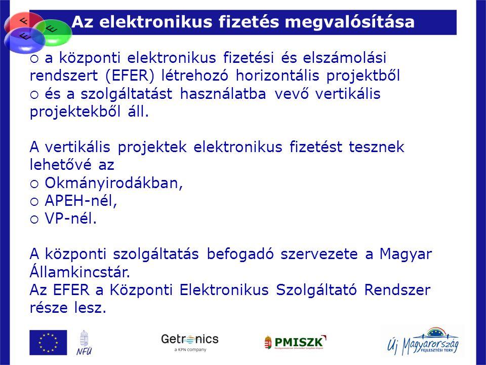 Az elektronikus fizetés megvalósítása 6  a központi elektronikus fizetési és elszámolási rendszert (EFER) létrehozó horizontális projektből  és a sz
