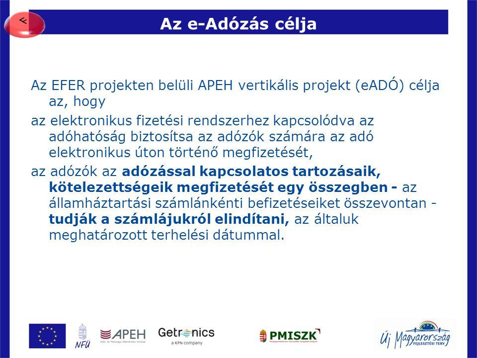 Az e-Adózás célja Az EFER projekten belüli APEH vertikális projekt (eADÓ) célja az, hogy az elektronikus fizetési rendszerhez kapcsolódva az adóhatósá