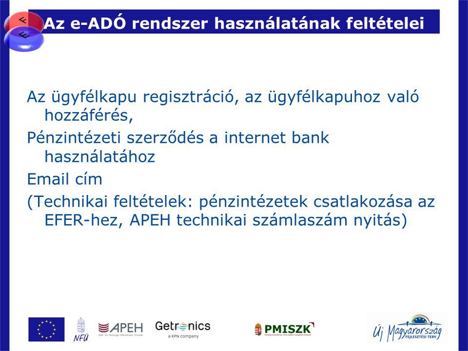 Az e-ADÓ rendszer használatának feltételei Az ügyfélkapu regisztráció, az ügyfélkapuhoz való hozzáférés, Pénzintézeti szerződés a internet bank haszná