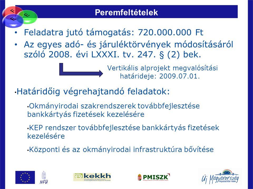 76 Peremfeltételek • Feladatra jutó támogatás: 720.000.000 Ft • Az egyes adó- és járuléktörvények módosításáról szóló 2008. évi LXXXI. tv. 247. § (2)