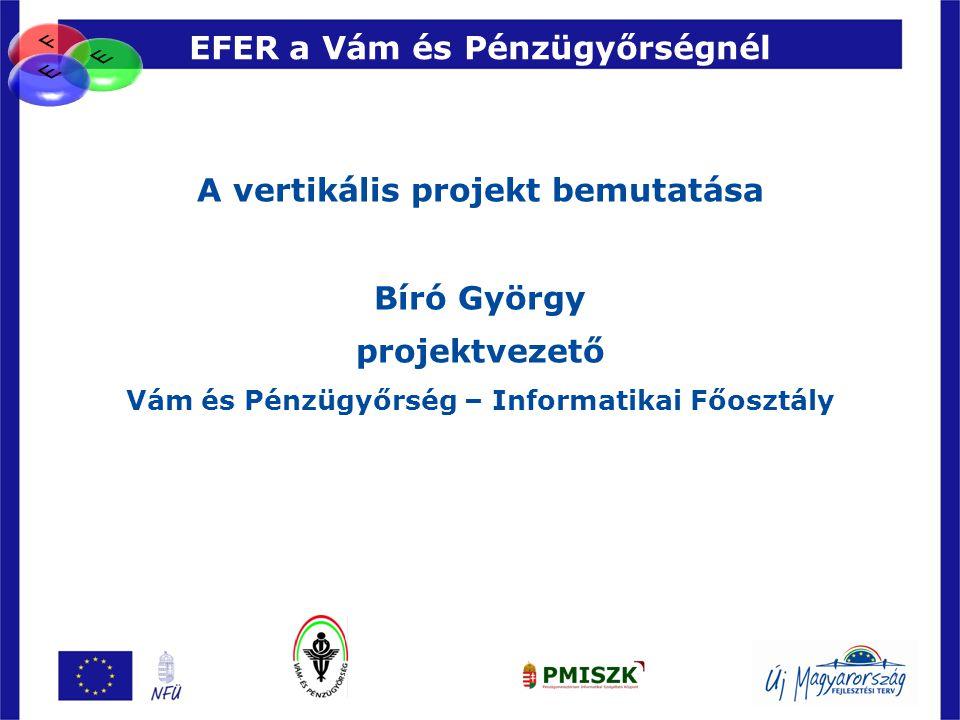 88 EFER a Vám és Pénzügyőrségnél A vertikális projekt bemutatása Bíró György projektvezető Vám és Pénzügyőrség – Informatikai Főosztály