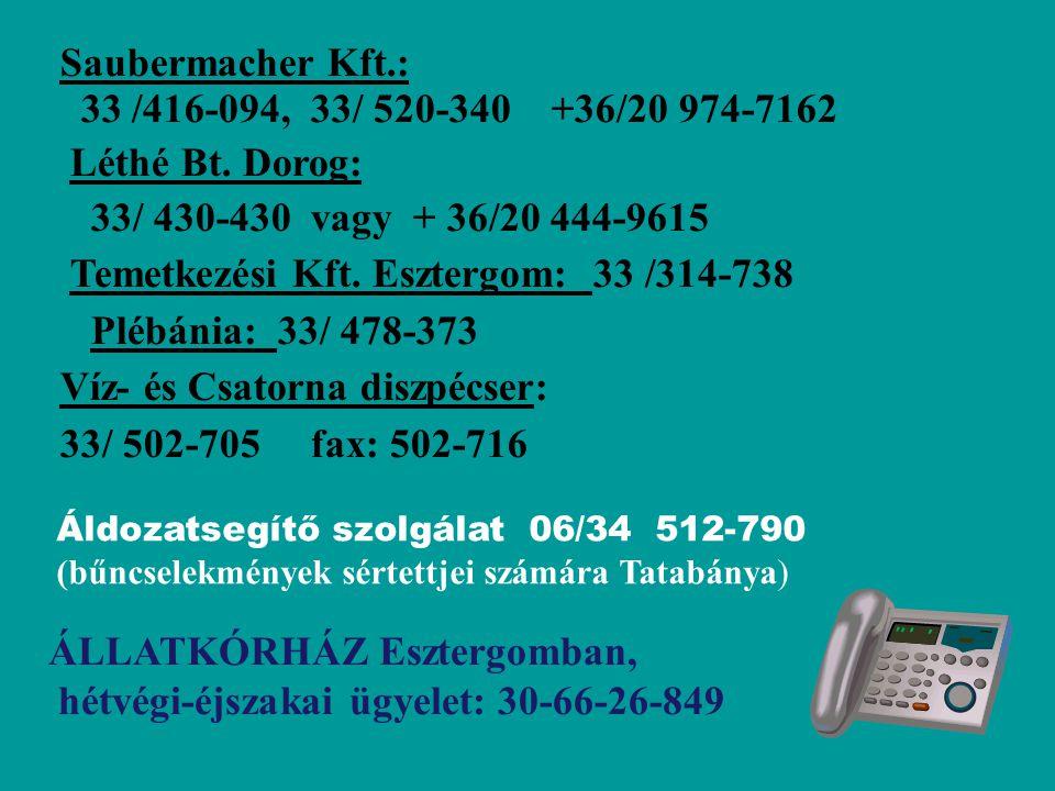 Saubermacher Kft.: 33 /416-094, 33/ 520-340 +36/20 974-7162 Léthé Bt.