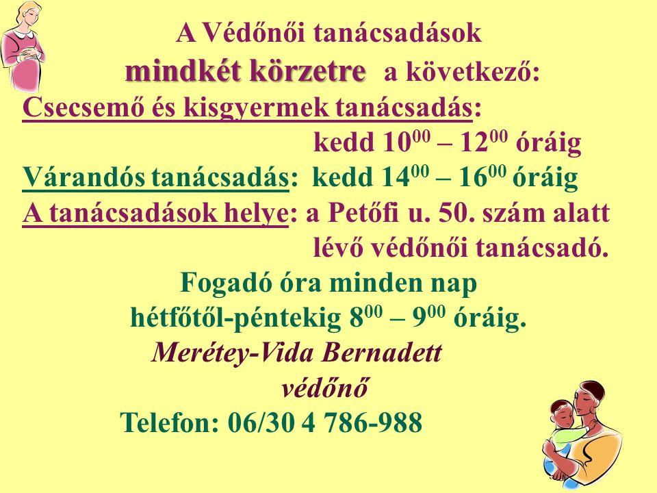 A Védőnői tanácsadások mindkét körzetre mindkét körzetre a következő: Csecsemő és kisgyermek tanácsadás: kedd 10 00 – 12 00 óráig Várandós tanácsadás: kedd 14 00 – 16 00 óráig A tanácsadások helye: a Petőfi u.