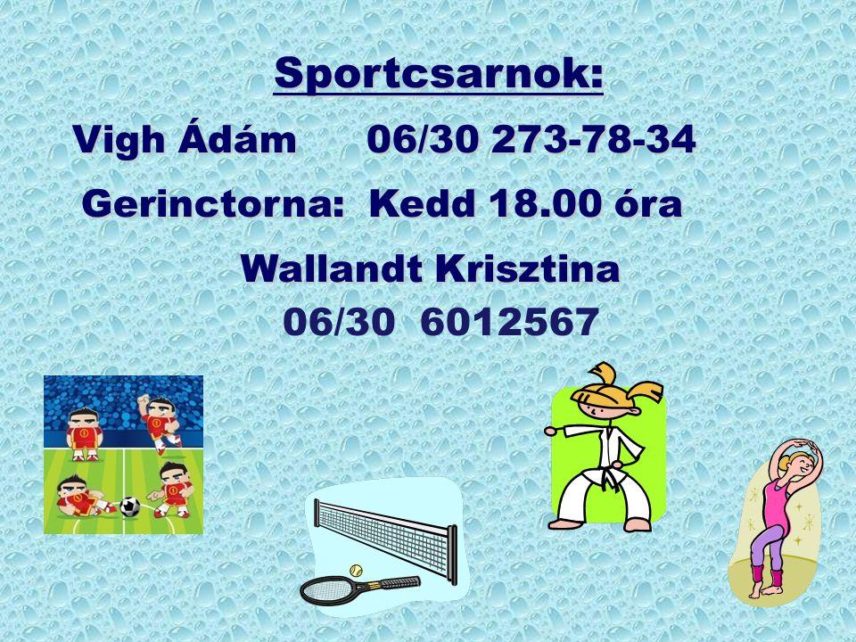 Sportcsarnok: Vigh Ádám06/30 273-78-34 Gerinctorna: Kedd 18.00 óra Gerinctorna: Kedd 18.00 óra Wallandt Krisztina Wallandt Krisztina 06/30 6012567