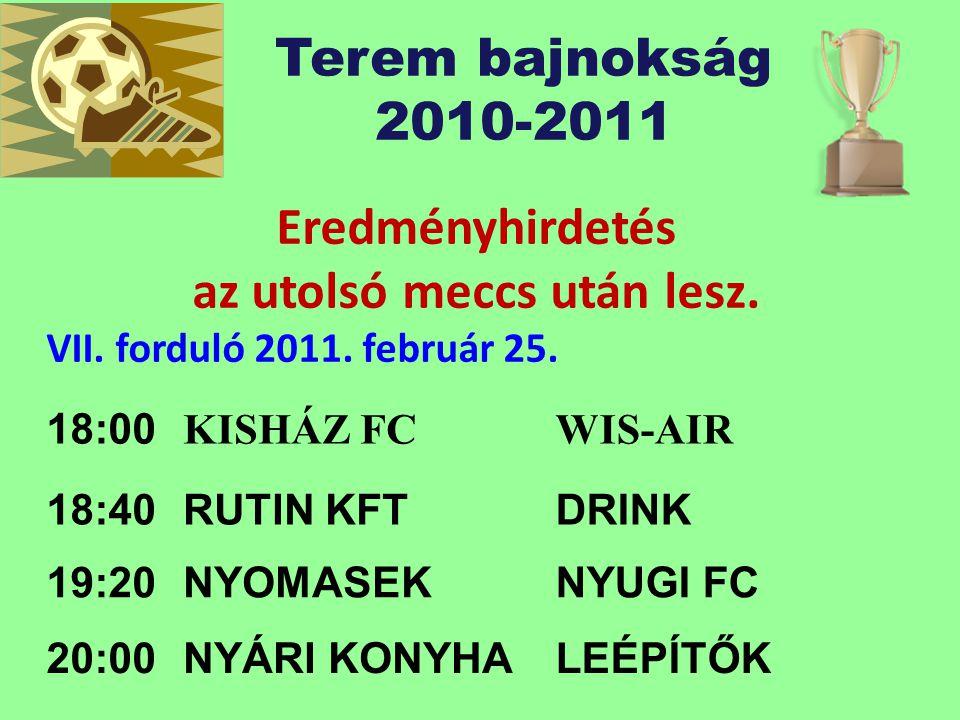 Terem bajnokság 2010-2011 Eredményhirdetés az utolsó meccs után lesz.