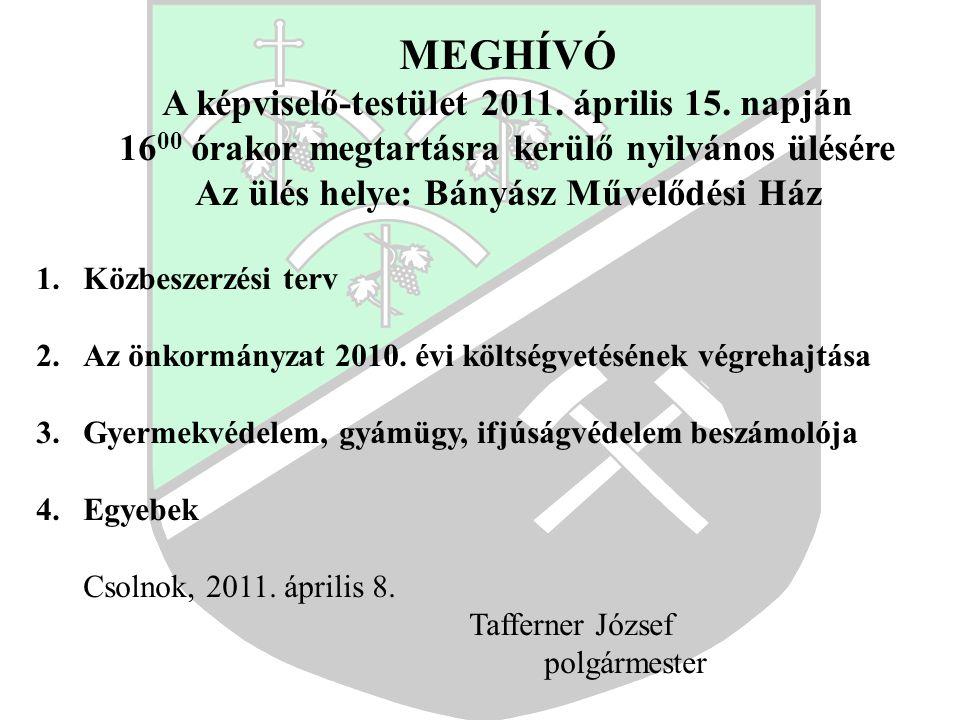 MEGHÍVÓ A képviselő-testület 2011. április 15.