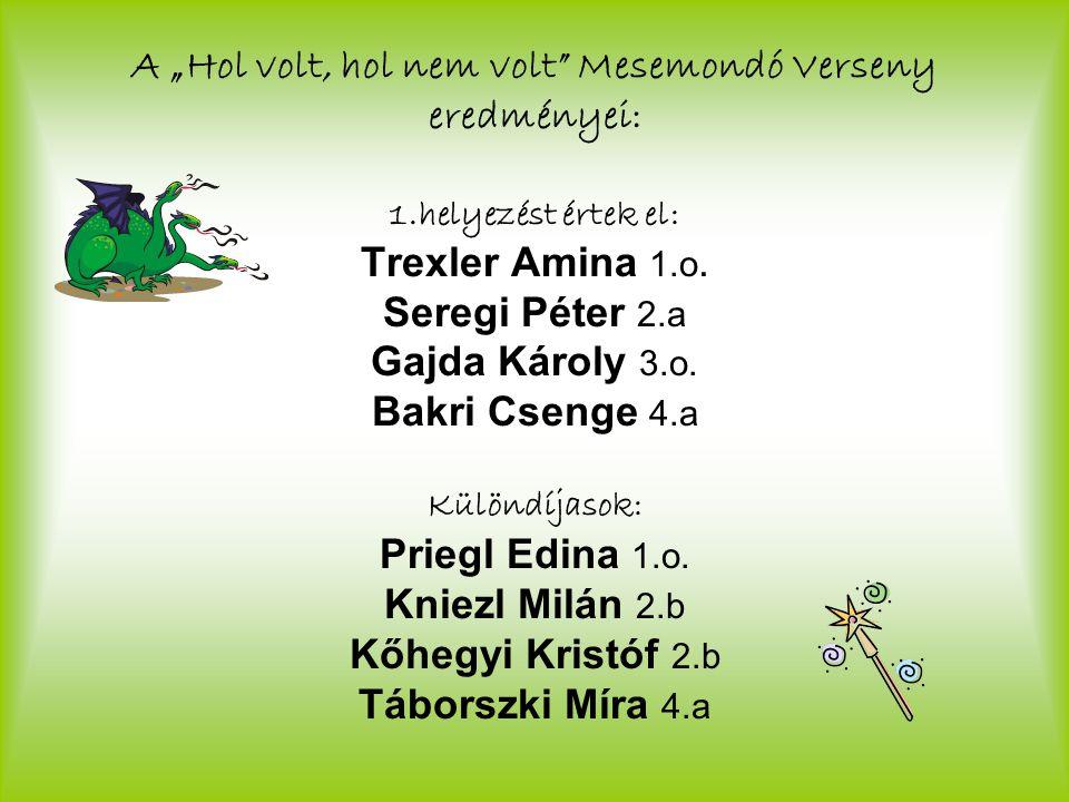 """A """"Hol volt, hol nem volt Mesemondó Verseny eredményei: 1.helyezést értek el: Trexler Amina 1.o."""