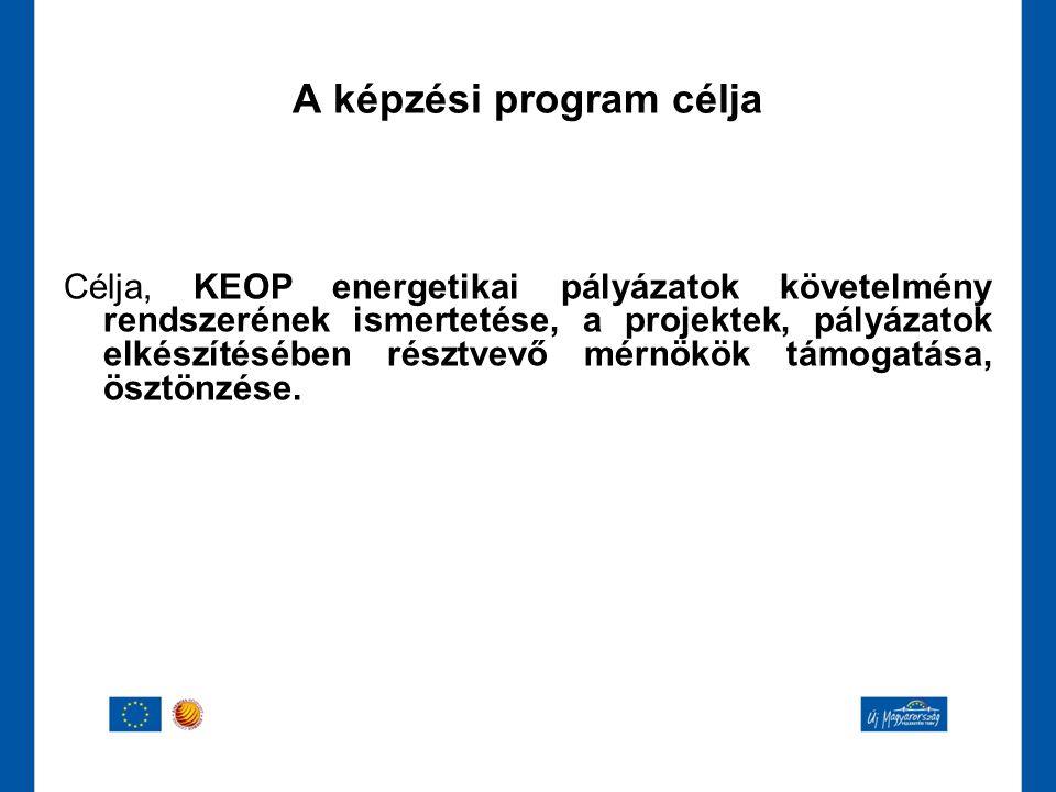 Célja, KEOP energetikai pályázatok követelmény rendszerének ismertetése, a projektek, pályázatok elkészítésében résztvevő mérnökök támogatása, ösztönz